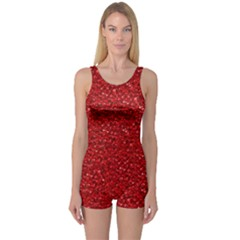 Sparkling Glitter Red Women s Boyleg One Piece Swimsuits