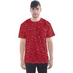 Sparkling Glitter Red Men s Sport Mesh Tees
