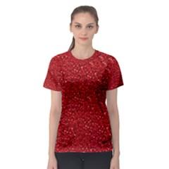 Sparkling Glitter Red Women s Sport Mesh Tees