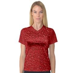Sparkling Glitter Red Women s V-Neck Sport Mesh Tee