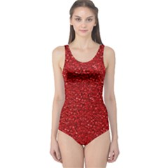 Sparkling Glitter Red Women s One Piece Swimsuits