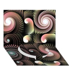 Peach Swirls on Black Circle Bottom 3D Greeting Card (7x5)