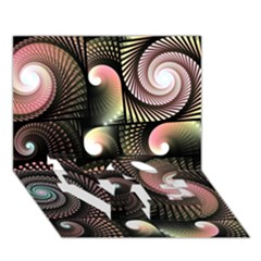 Peach Swirls on Black LOVE Bottom 3D Greeting Card (7x5)