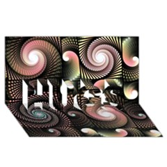 Peach Swirls On Black Hugs 3d Greeting Card (8x4)