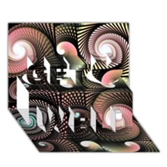 Peach Swirls on Black Get Well 3D Greeting Card (7x5)