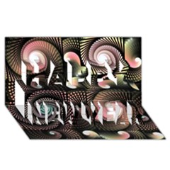 Peach Swirls on Black Happy New Year 3D Greeting Card (8x4)