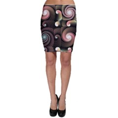 Peach Swirls On Black Bodycon Skirts