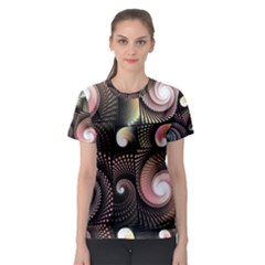 Peach Swirls On Black Women s Sport Mesh Tees