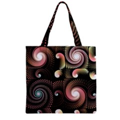 Peach Swirls on Black Grocery Tote Bags