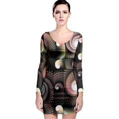 Peach Swirls on Black Long Sleeve Bodycon Dresses