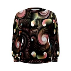 Peach Swirls on Black Women s Sweatshirts