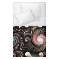Peach Swirls On Black Duvet Cover Single Side (single Size)