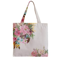 Vintage Watercolor Floral Zipper Grocery Tote Bags