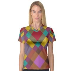 Shapes pattern Women s V-Neck Sport Mesh Tee