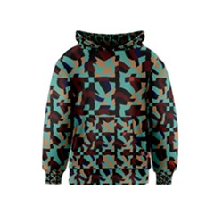 Distorted Shapes In Retro Colors Kid s Pullover Hoodie