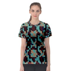Distorted shapes in retro colors Women s Sport Mesh Tee
