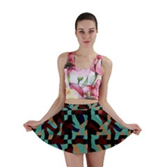 Distorted shapes in retro colors Mini Skirt
