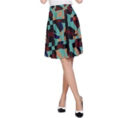 Distorted Shapes In Retro Colors A Line Skirt