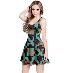 Distorted shapes in retro colors Sleeveless Dress