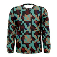 Distorted Shapes In Retro Colors Men Long Sleeve T Shirt
