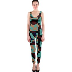 Distorted shapes in retro colors OnePiece Catsuit