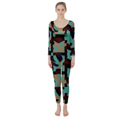 Distorted shapes in retro colors  Long Sleeve Catsuit