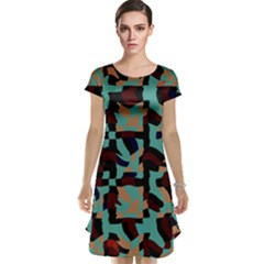 Distorted shapes in retro colors Cap Sleeve Nightdress