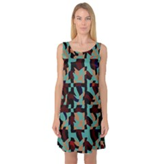 Distorted shapes in retro colors Sleeveless Satin Nightdress