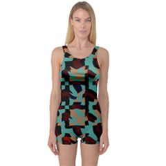 Distorted shapes in retro colors Women s Boyleg One Piece Swimsuit