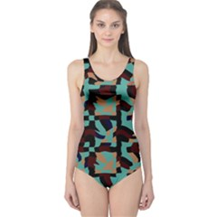 Distorted shapes in retro colors Women s One Piece Swimsuit