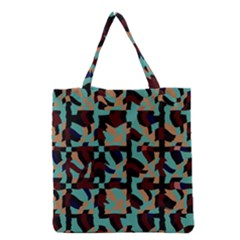 Distorted shapes in retro colors Grocery Tote Bag