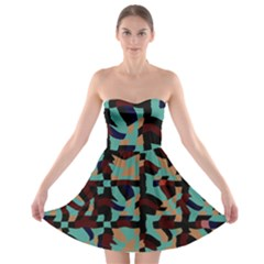Distorted Shapes In Retro Colors Strapless Bra Top Dress