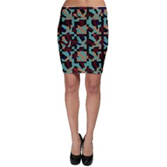 Distorted shapes in retro colors Bodycon Skirt