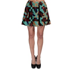 Distorted Shapes In Retro Colors Skater Skirt
