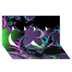 Fractal Dream Twin Hearts 3D Greeting Card (8x4)