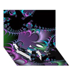 Fractal Dream LOVE Bottom 3D Greeting Card (7x5)