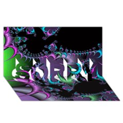 Fractal Dream Sorry 3d Greeting Card (8x4)