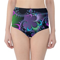 Fractal Dream High-Waist Bikini Bottoms