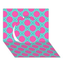 Cute Pretty Elegant Pattern Circle 3D Greeting Card (7x5)