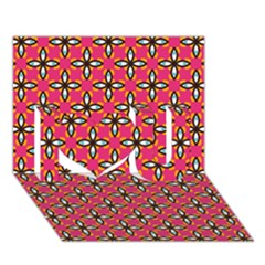 Cute Pretty Elegant Pattern I Love You 3D Greeting Card (7x5)