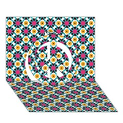 Pattern 1282 Peace Sign 3d Greeting Card (7x5)