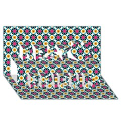 Cute Abstract Pattern Background Best Friends 3d Greeting Card (8x4)