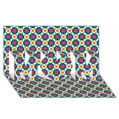 Cute Abstract Pattern Background Mom 3d Greeting Card (8x4)