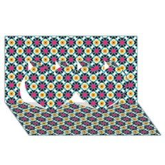 Cute abstract Pattern background Twin Hearts 3D Greeting Card (8x4)
