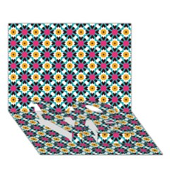 Cute Abstract Pattern Background Love Bottom 3d Greeting Card (7x5)