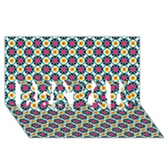 Cute abstract Pattern background BEST SIS 3D Greeting Card (8x4)