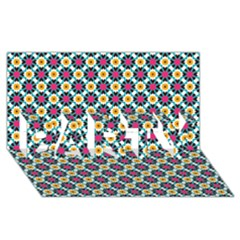 Cute abstract Pattern background PARTY 3D Greeting Card (8x4)