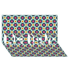 Cute Abstract Pattern Background Believe 3d Greeting Card (8x4)
