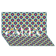 Cute abstract Pattern background SORRY 3D Greeting Card (8x4)