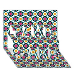 Cute Abstract Pattern Background Take Care 3d Greeting Card (7x5)